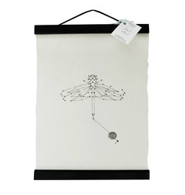 Animaal Amsterdam Libelle print zwart frame