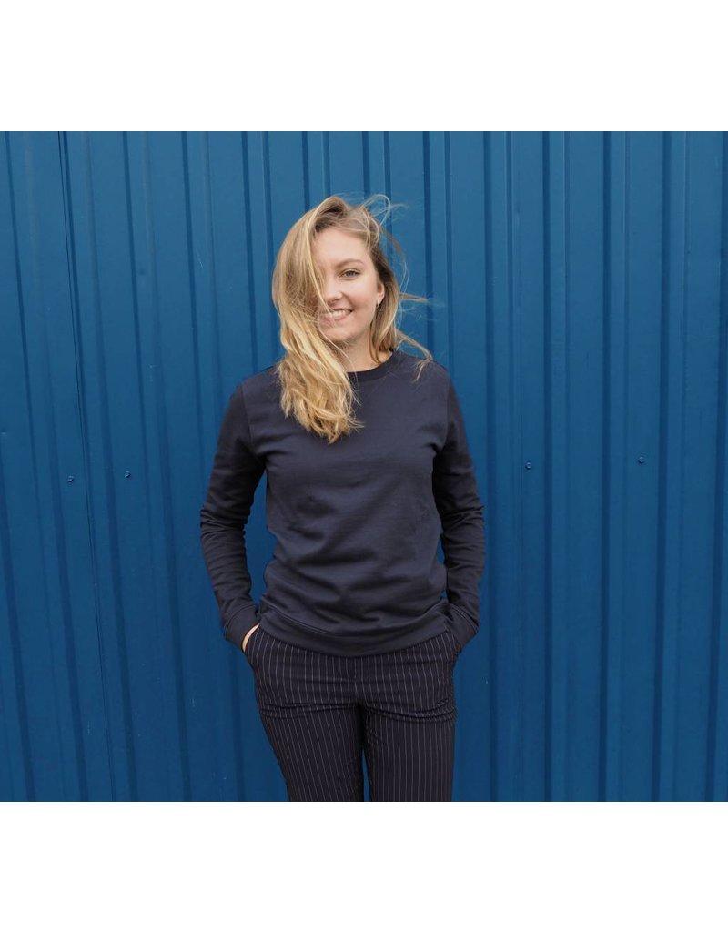 Zachte blauwe trui van biologisch katoen