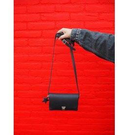 Napsoe Zwarte schoudertas van vintage leer s