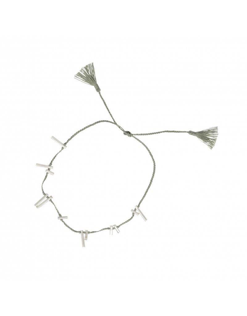 ANNA+NINA Twig thread armband slate zilver