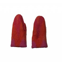 Wintervacht Rood oranje wanten van duurzame wol