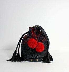 Return Bucket bag zwart met pompons