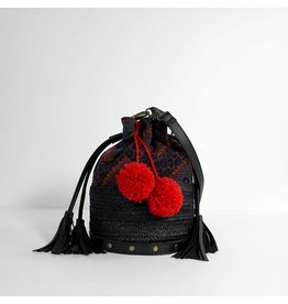 Return Bucket bag zwart met pompons