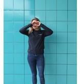 Donkerblauwe trui met borduring In Love