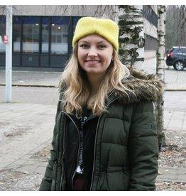 Wintervacht Gele haarband van duurzame wol