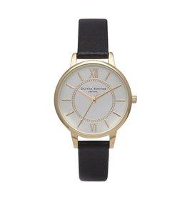 Olivia Burton Goud horloge met leren zwarte band