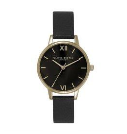 Olivia Burton Goud horloge met zwarte wijzerplaat en zwarte band