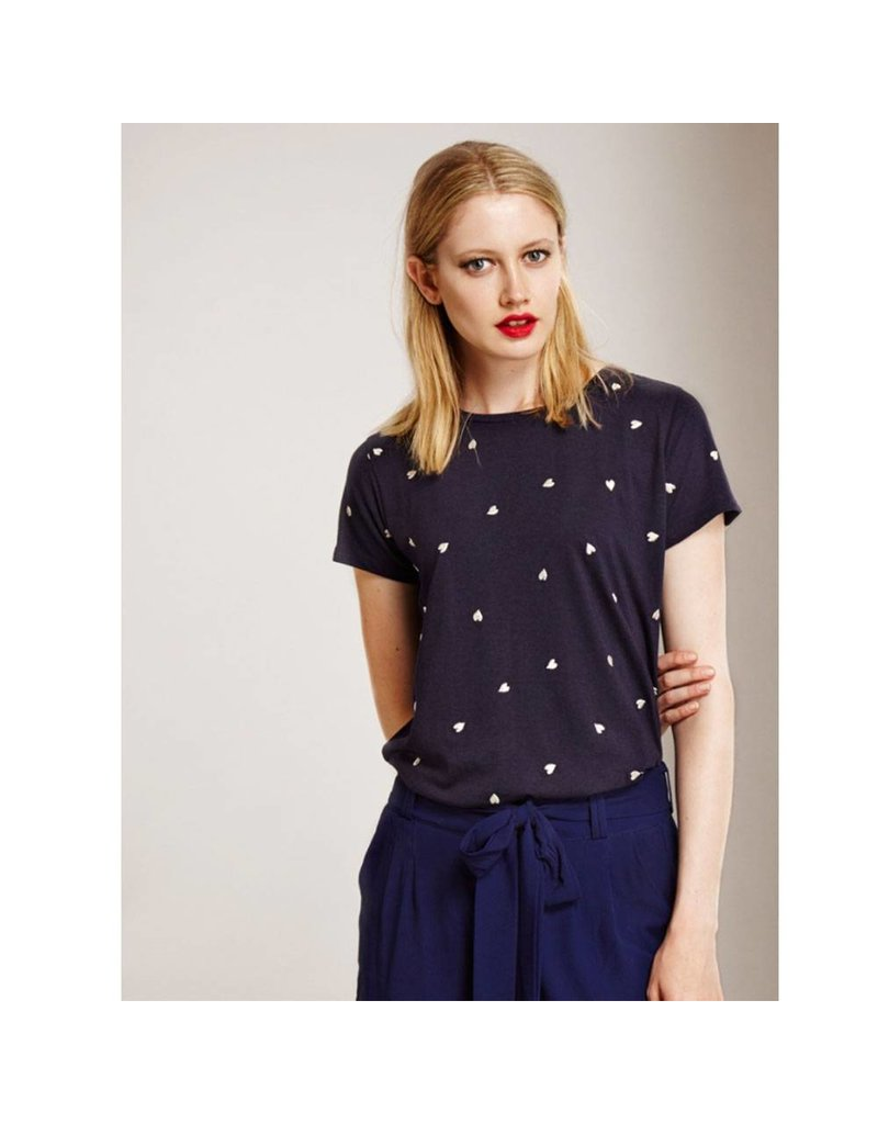 Fabienne Chapot Blauw T-shirt met hartjes