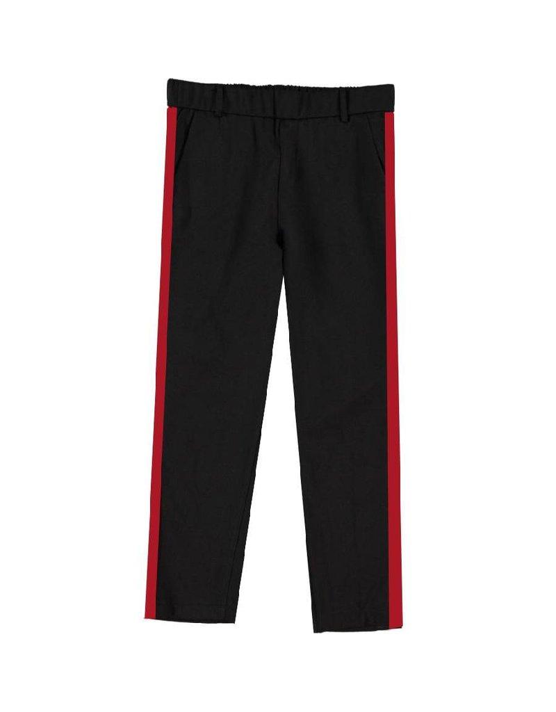 Turquoise by daan Zwarte broek met rode streep
