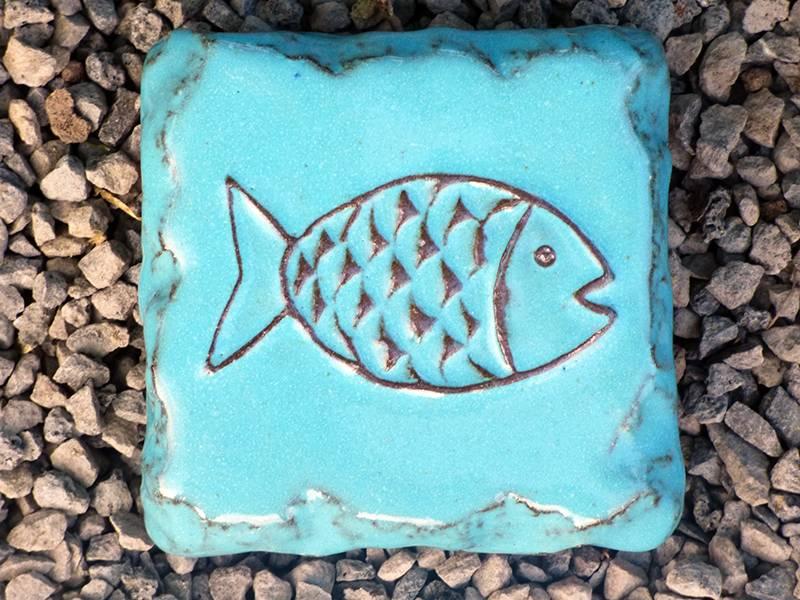 Motiv Pflasterstein Fisch in türkis, absolut frostfest