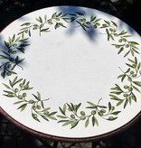 Farbenfroher mit Keramikglasuren handbemalter Lavasteintisch, frostfest