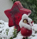 Strahlend roter Stern aus Glas Auf Holzstab