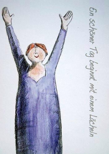 """Postkarte """"Ein schöner Tag beginnt mit einem Lächeln"""""""