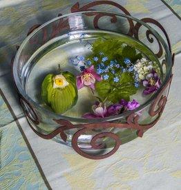 Glasschale mit Metallornamentring