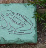 Motiv Pflasterstein Frosch in efeu-grün