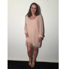 by Natascha Sweater dress roze mét los onderjurkje