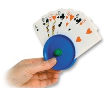 Playing card holder around plastic in hand