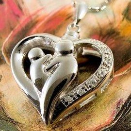 Zilveren Ashanger - Moeder en Kind -  met handgezette zirkonia steentjes