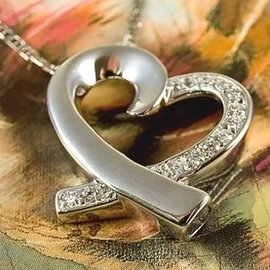 Zilveren Open Hart ashanger met rand met zirkonia's