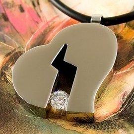Titanium Ashanger - Gebroken Hart - met fraaie zirkonia