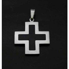 RVS KRUIS ashanger - zwart vierkant kruisje