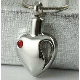 RVS Ashartje - Leegte in mijn hart - met rode zirkonia
