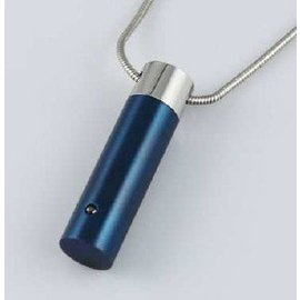 RVS blauw askokertje - met 1 zirkonia