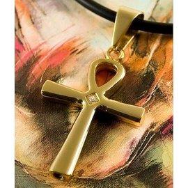 RVS Gold-tone - Ankh kruis ashanger met zirkonia.