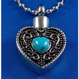 RVS ashartje met blauw hartje