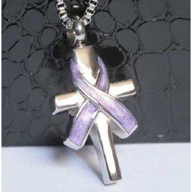 RVS ashanger - Kruis met paarse homo strik