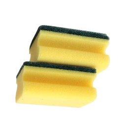 Schuurspons met greep geel-groen GROOT 6st.