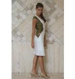 iskon mode Leinenkleid mit V-Ausschnitt