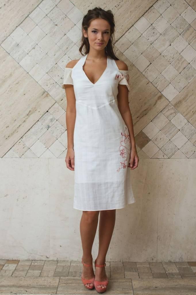 iskon mode Weisses Baumwollkleid V-Ausschnitt