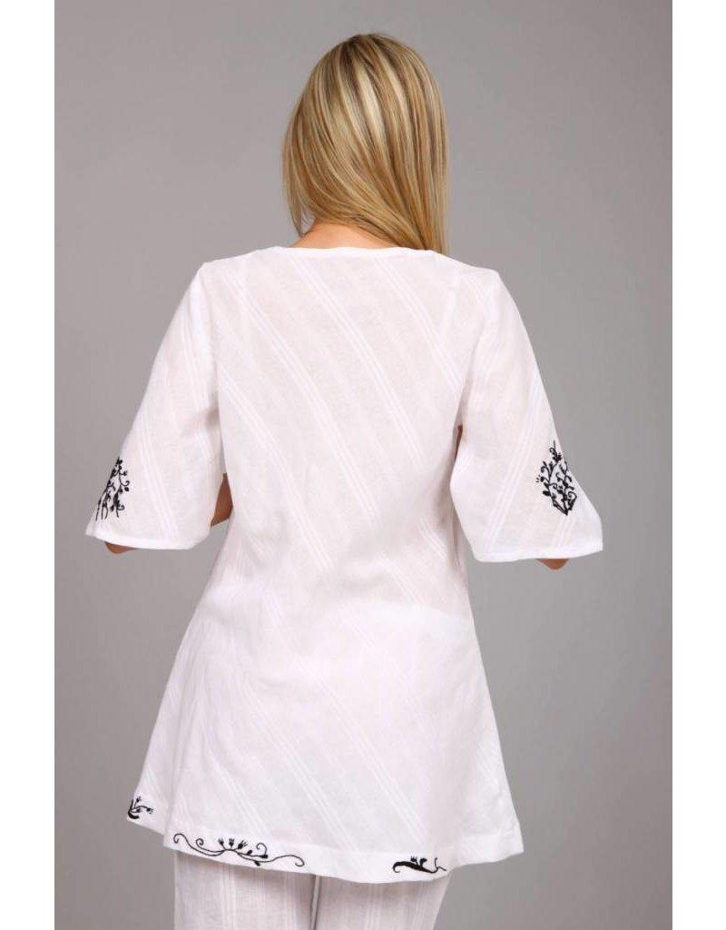 iskon mode Baumwolltunika mit Stickeinlage