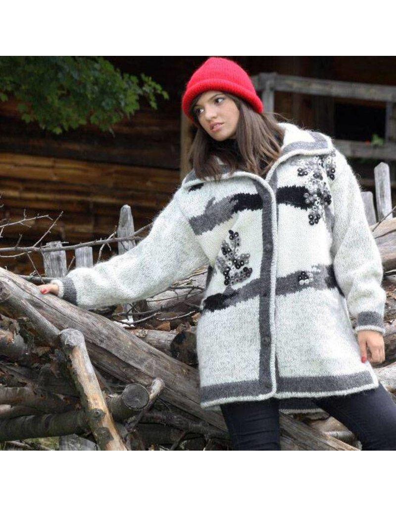 Sirogojno-Style Strickjacke aus Islandwolle