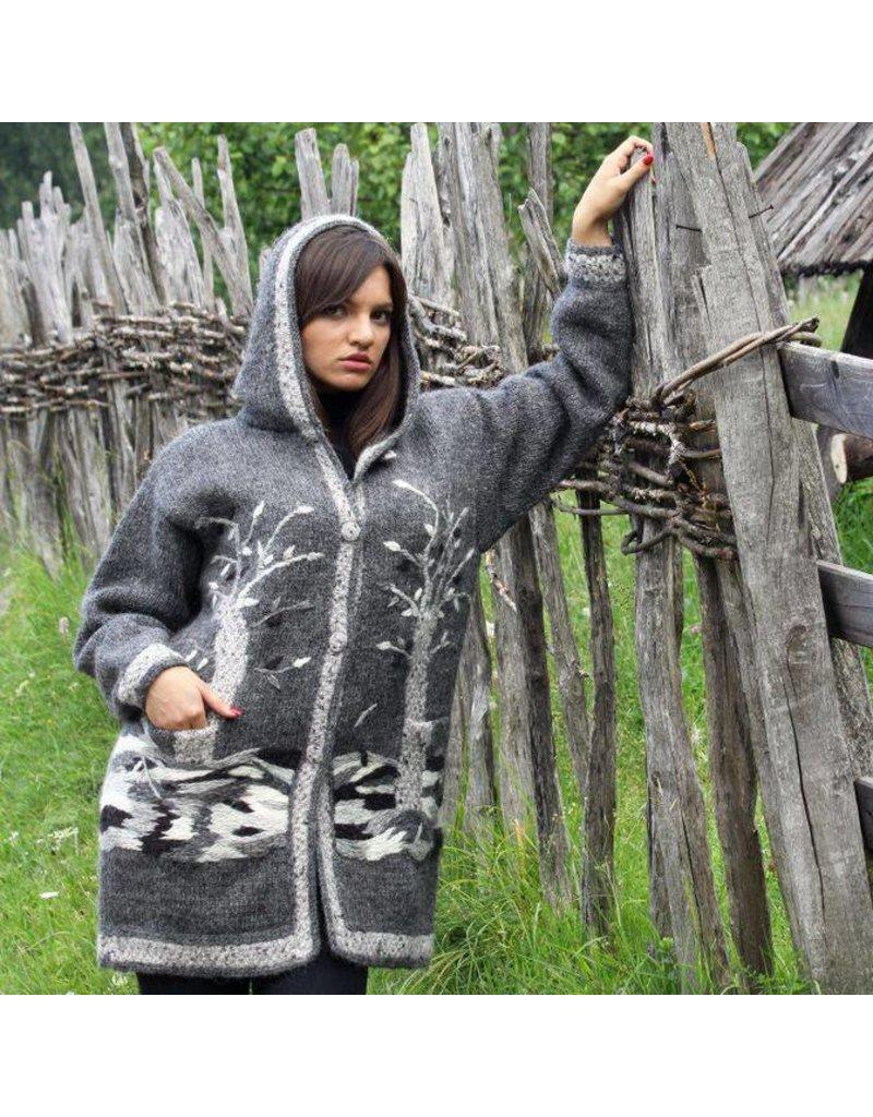 Sirogojno-Style Graue Wolljacke mit Kapuze