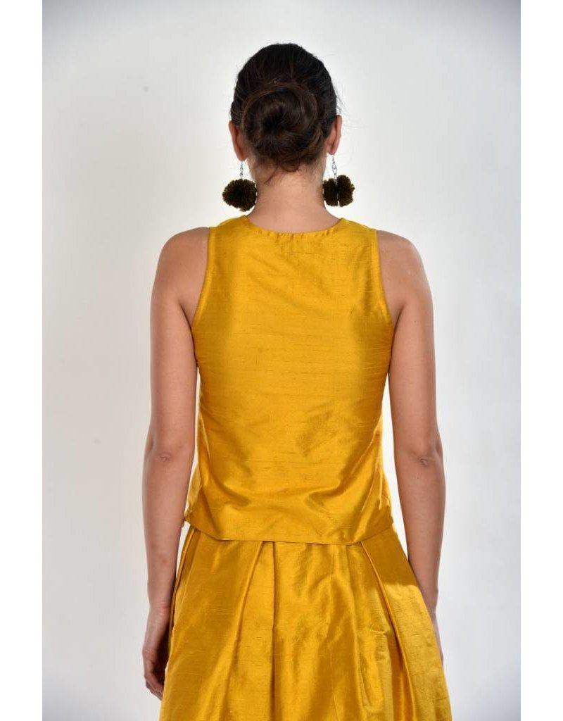iskon mode Gelbe Seidenbluse