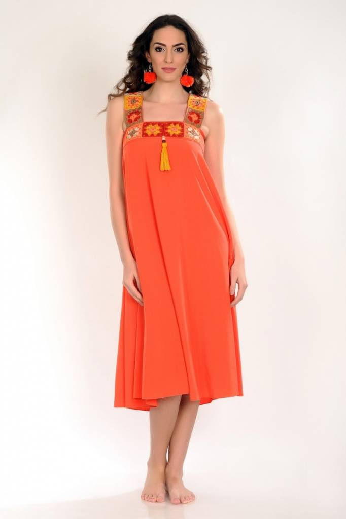 iskon mode Orangenes Kleid