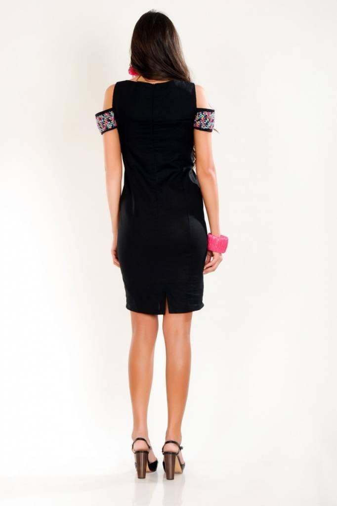 iskon mode Schwarzes Leinenkleid