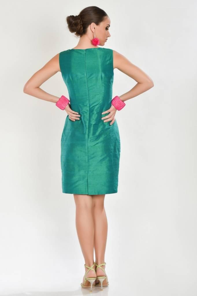 iskon mode Grünes Seidenkleid