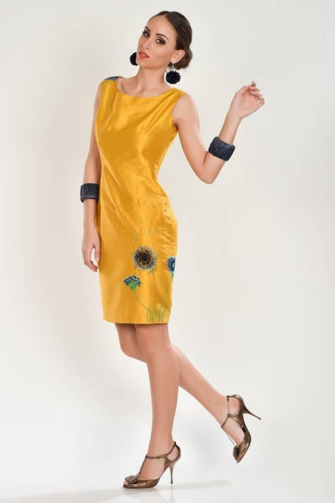iskon mode Gelbes Seidenkleid