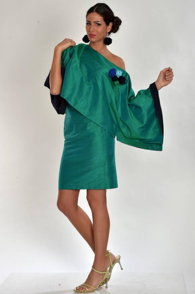iskon mode Grüne Seidenbluse