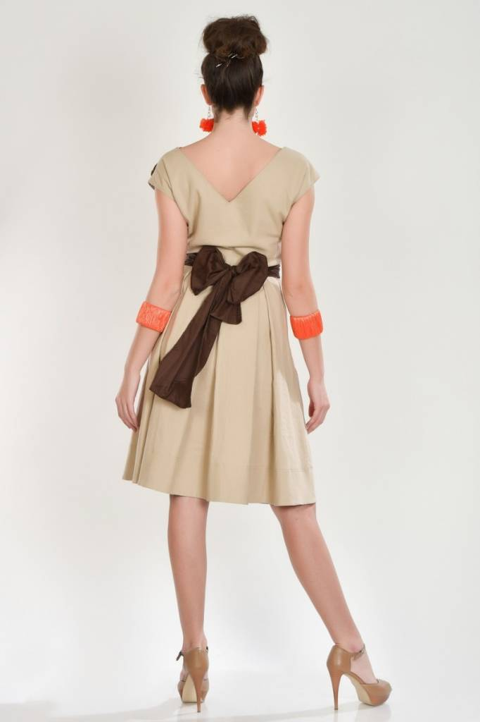 iskon mode Mittellanges Leinenkleid