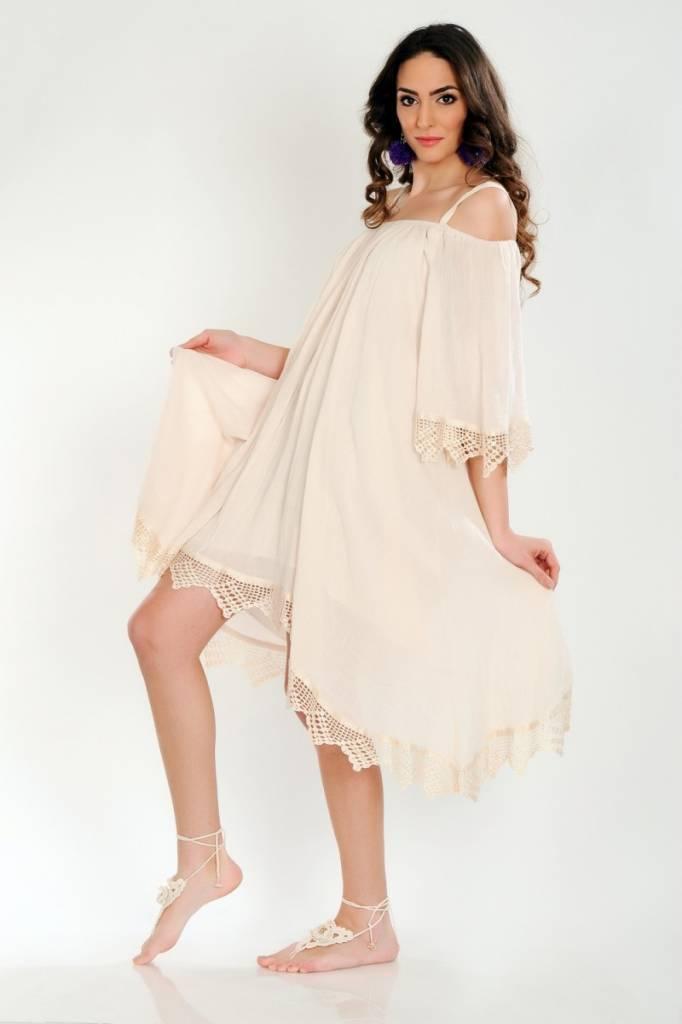 iskon mode Schulterfreies Baumwollkleid