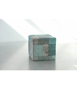 Trinity Creations Patchwork Pouf Washed Turquoise