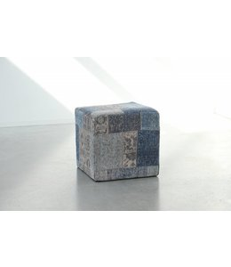 Trinity Creations Patchwork Pouf Ming Blue