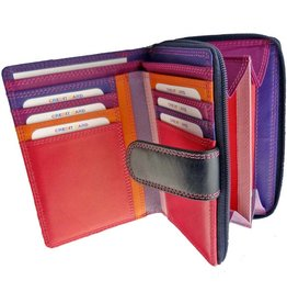 Burkely Reißverschluss Leder Geldbörse Multicolor Dunkles Violett Lila Portemonnaie