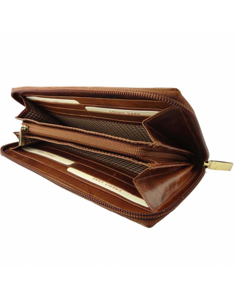 Burkely Damen Geldbörse Reißverschluss Vollrindleder