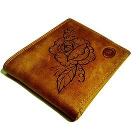 Herren Geldbörse Mit Hand Gebrannt Rose
