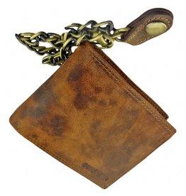 Portemonnaie Mit Kette Viele Kreditkartenfächer Leder Gefüttert Querformat